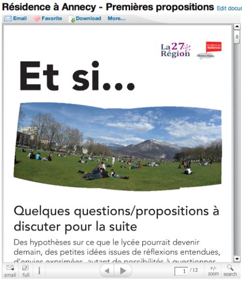 Présentation de nos premières propositions Annecy en ligne sur slideshare